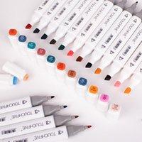 Маркеры Touchfive для рисования 36/48/60/80/80/168 Цвета Алкоголь на основе арт-маркера Двухкомнатная кисточка Pen Manga Calligraphy Pen 201127