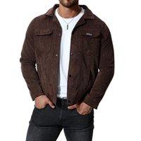 Neueste Entwurfs-Cordjacke Männer beiläufiger Mantel Herbst Slim Fit Doppel Taschen Herren Jacken bequeme schwarze Oberbekleidung 4XL