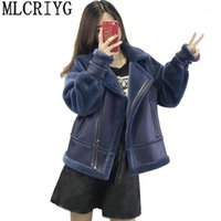 MLCRIYG New 2018 Autumn Winter Motorcycle PU Leather Jacket Patchwork Womens Long Wool Coat Female Faux Leather Jackets Outwear1