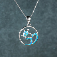High Quality Ocean Jewelry Blue Opal Sea Turtle Pendant Pure 925 Sterling Silver Necklace For Gift
