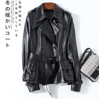 Nerazzurri Black spring leather trench coat women belt long sleeve double breasted womens high fashion Leather jacket women 201007