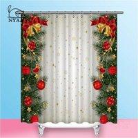 NYAA 크리스마스 샤워 커튼 분기 테두리 방수 폴리 에스터 패브릭 욕실 커튼 홈 장식 Y200108