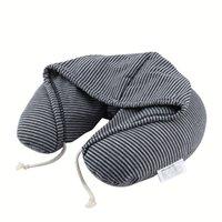 Yumuşak Kapüşonlu U-Yastık Polyester İpli Microbeads Vücut Seyahat Boyun Yastık Ev Uçak Araba Yastıklar Taşınabilir Ev Tekstili T200603