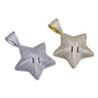 Hip Hop Gold Silver Color Cubic Zircon Star Colgante Colgante Collar para Hombres Iced Out Bling Jewelry 269 J2