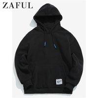 Zaful بلون الحقيبة جيب الصوف هوديي الأساسية مقنع البلوز الأعلى نمط بسيط سوياتشيرتس الخريف الدافئة رجل لينة هوديس Y200519