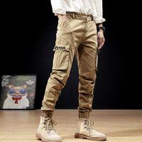 Moda Tasarımcısı Erkekler Kot Büyük Cep Rahat Tulum Kargo Pantolon Yüksek Kaliteli Streetwear Haki Renk Hip Hop Joggers Pantolon