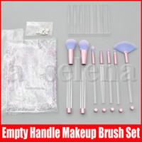 Pinceles de maquillaje 7 unids con mango transparente vacío Portátil y brillo con bolsa cosmética sobre el conjunto de pinceles de bricolaje