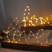 LED خطابات الحب ضوء ديكور المنزل غرفة المعيشة تصميم خشبي الديكور عيد الحب هدايا يوم W-00614