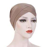 Beanie / Kafatası Caps Alın Çapraz Müslüman Türban Saf Renk Streç Pamuk İç Hijabs Giymek için Hazır Kadın Kafa Eşarp Bonnet Femme altında