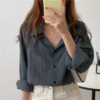 Bornladies Oversize Blouses Tops Femme Printemps Casual Shirt Femme Stripe manches longues en coton filles Chemisier Plus Size Blusas Automne