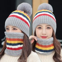 Winter new style plush hat collar two piece set stripe thickened knitted hat Outdoor sports windproof warm hat Party Hats FF361