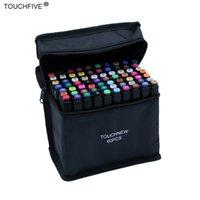 Touchfive 30/40/60/80/168 Colores Conjunto de colores Marcadores de arte Alcohol Oil Tinta Dual Brush Pen Manga Estudiante Sketch Dibujo Marcador Art Supplies 201120