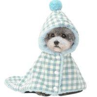 Köpek / Kedi Pamuk Battaniye Şapka Ile, Yıkanabilir Pet Kabarık Pelerin Küçük / Orta Köpek Için Sevimli Ekose Giyim, Sıcak Yumuşak Köpek Uyku Mat Havlu