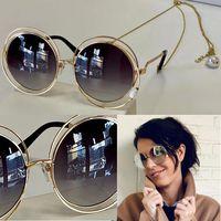 1145 Модные солнцезащитные очки с УФ-защитой для женщин Винтажные круглые металлические рамки Популярное топочное качество Поставляются с Case Classic с цепными очками