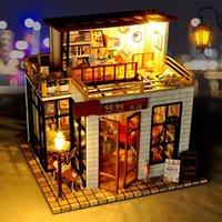 Baby Spielzeug Handbuch DIY Pädagogische Spielzeug 3D Holz Puppenhaus Mini Alte Stadt DIY Miniatur Modell Weihnachten Geburtstagsgeschenk Y200413