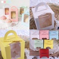 الحلويات الشوكولاتة الهدايا صندوق كعك تخزين الطعام كوكي وجبة خفيفة الحاويات واحدة الكعك الحالات مع مقبض نافذة واضحة الساخن بيع 0 35ZX F2
