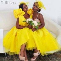 Sarı Gelinlik Modelleri Spagetti Çay Boyu Bir Çizgi Yay Pleats Beach Country Düğün Konuk Partisi Törenlerinde Onur Elbise Artı Boyutu Hizmetçi