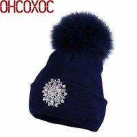 Frauen Luxus Winter Hüte Große Größe Tier Pelz Pompom Ball Hüte Nerz Echt Pelz Poms Mützen Neue Mode Floral Winter1