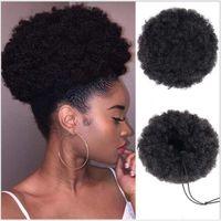 8 pulgadas corto soplo del Afro sintético Moño moño postizo para las mujeres del lazo de la cola de caballo rizado rizado Updo la pinza de pelo Extensi