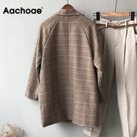 Aachoae Vintage Plaid Blazer Jacket For Women Loose Long Sleeve Office Coat With Pockets Casual Double Breasted Outerwear Tops 201008