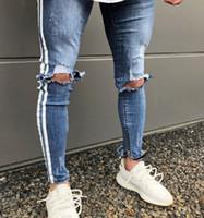 Erkek Yan Çizgili Yırtık Skinny Biker Kot Gökyüzü Mavi Klasik Kalem Pantolon Sokak Lokomotif Kot Pantolon Arkadaş Erkek Iş Kovboy Pantolon