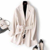 여성 베이지 색 한국어 간단한 짧은 스타일의 울 코트에 대한 Mozuleva 2020 새로운 고품질 더블 캐시미어 겨울 모직 코트