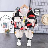 Hylkidhuose 2020 Spring Boys Ropa Sets Camuflaje Abrigos Camiseta Pantalones 3 piezas Bebé Ropa infantil Niños Casual Costume1