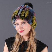 Mütze / Schädelkappen echte Rex Pelzhut Frauen Winter Strickgemüse Mütze mit Pom Poms Marke dicke weibliche elastische weiche warm1