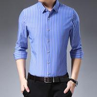 Мужские повседневные рубашки Miacawor 2021 с длинным рукавом полосатые мужчины Slim Fit Camisa Masculina мода платье рубашка мужчина C575