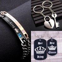 Collegamento, catena in oro rosa pistola nera il suo re suo regina coppia braccialetti per le donne uomini regalo amante in acciaio inox tag fascino braccialetto1