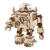 Robotime Steampunk Diy Robô de Madeira Clockwork Caixa de Música Decoração Presente AM601 LJ200928
