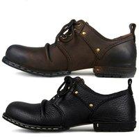 Otto Zone à la main Véritable Cuir Veau Cuir Bottines Fashion Hommes Chaussures Bottes Rivet Chaussures plates Casual Chaussures de lacets, Meilleure qualité 201202