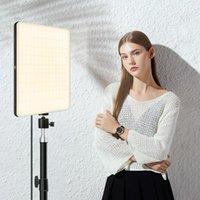 Têtes flash Dimmable Panneau de lumière Vidéo LED LED EU Bouchon 3200K-6000K Éclairage de pographie pour Live Stream Po Studio Lampe de remplissage Trois Color1