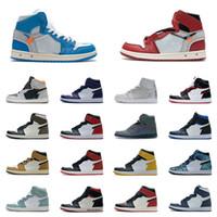 Homens 1 sapatos de basquete 1s high top hi ts sp toe preto criado japão tribunal roxo escuro mocha unc patente vermelho jogo Royal Phantom sahdow sneakers