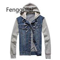 FENGGUILAI Джинсовая куртка с капюшоном мужчин Спортивная открытом воздухе Повседневная мода джинсы Куртки Толстовки Cowboy Мужские пальто куртки C1108