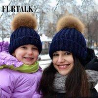 قبعة / قبعات الجمجمة furtalk راكون راكون بوم قبعة الوالدين - الطفل زوجين الفراء الشتاء الأسرة للأطفال