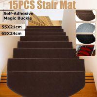 15PCS Stair Tread Teppich Mats Self Adhesive Stair Mat Mat Anti-Skid Schritt Teppiche Sicherheit Mute Fußmatten Innen Warm Pad 55x21