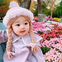 Accessoires de cheveux Enfants Chapeau tricoté Bébé Filles Jolie Perruque Big Braid Kids Winter Soft Soft Princess Cap Cap