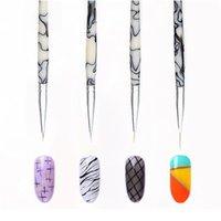 4 stücke UV Gel Liner Zeichnung Bürste Set Acryl Polnische Malerei Nagellinie Stift Marmorgriff Superfine Nail art Salon T Jlldwe
