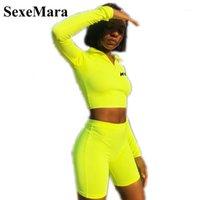 Sexemara Tacksuit Women Trajes de dos piezas Fluorescente Camisa de manga larga Cultivo Top Top Biker Shorts Fall 2020 Sexy Swearsuit D70-AE961