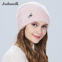 Joshuasilk женщина зима шляпа из искусственного меха и ангорских кроликов мягкий и нежный кулон моды украшения для девочек 201012