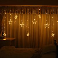 Pentagrama LED Cortina String Luzes da Janela Curtain Lights 8 Modos de Pintamento Decoração para Festa de Casamento de Natal Home Pátio Gramado CCE4017