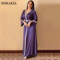 SKAKIA SATIN MAXI Kleid für Frauen Türkei Arabisch Diamant V-Ausschnitt Langarm Jalabiya Muslim Islamic Ethnic Abaya 2020 Herbst Neues Y0118