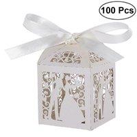 Gift Wrap 100 stks Paar Design Lase Cut Wedding Sweets Snoep Gunst Dozen met Lint Tafel Decoraties (Creamy-White) 1
