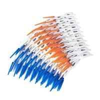 80pcs / boîte pince dentaire pinceau interdental dents bâton de dentifrice soft silicone dents choix de nettoyage oral