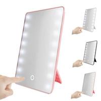 16 المصابيح مكياج مرآة مع الصمام اللمس قابل للتعديل ضوء مرآة مستحضرات التجميل مرآة الغرور مضيئة