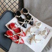 Sapatos de couro Sandálias infantis 2020 Wedding Party New Moda Verão Princesa Calçados Meninas Sandálias Rebites crianças sandálias romanas
