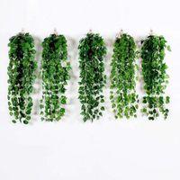 Flores decorativas grinaldas 1 pc 2m videira artificial Falso planta de suspensão folhas de parede guirlanda verde jardim ornamentos decoração k2i3