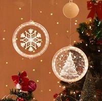 라이트 라운드 창 Decortive 눈송이 산타 스타 문자열 크리스마스 장식 레이아웃 등 파티 장식 LJJP654 매달려 3D 크리스마스