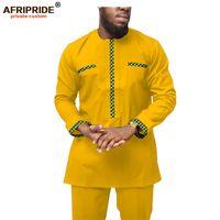 الملابس الأفريقية للرجال أنقرة القمصان وطباعة السراويل مجموعة الشمع الباتيك الملابس dashiki الرجال رياضية ملابس afripride A1916050 201109